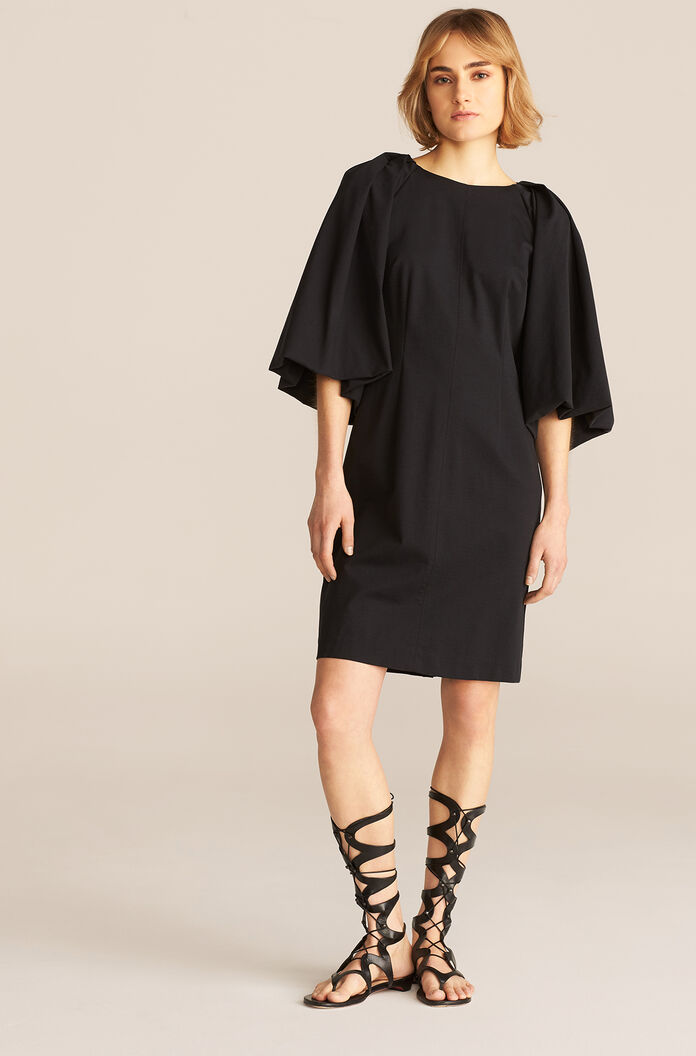 Balloon Sleeve Dress, Black, large