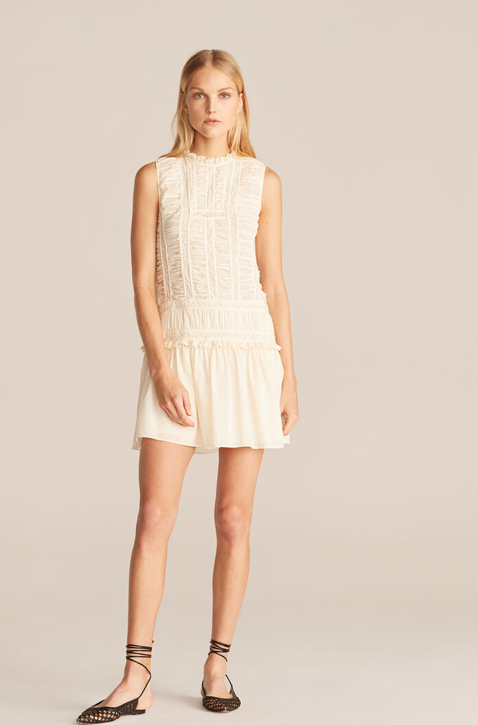 Ruched Lace Dress, New Ivory, large