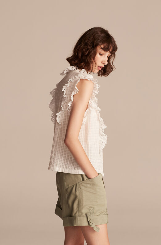La Vie Palm Embroidery Top, Milk, large