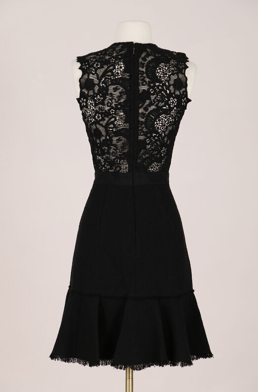 Recollect Luna Script Lace Back Tweed Dress