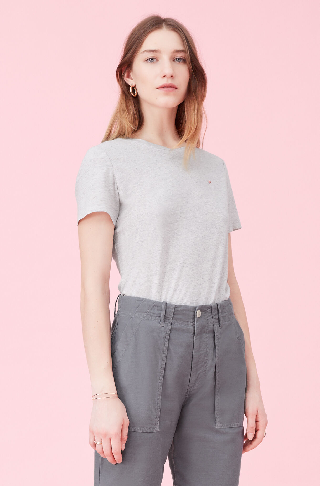 La Vie Embroidered Logo Jersey Top, Heather Grey, large