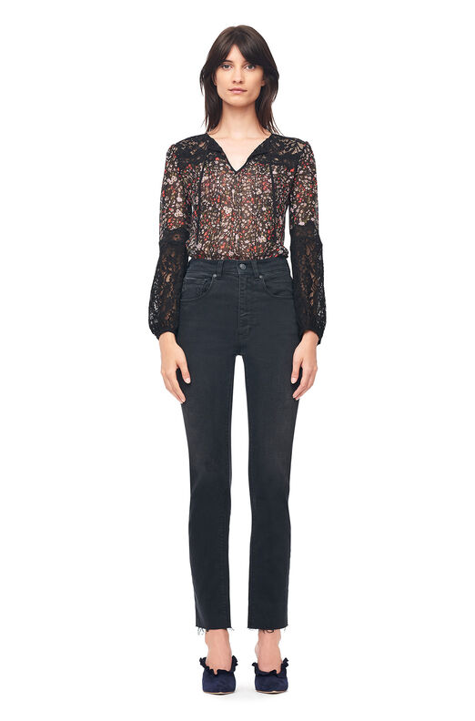 Lyra Floral Chiffon & Lace Top - Black Combo