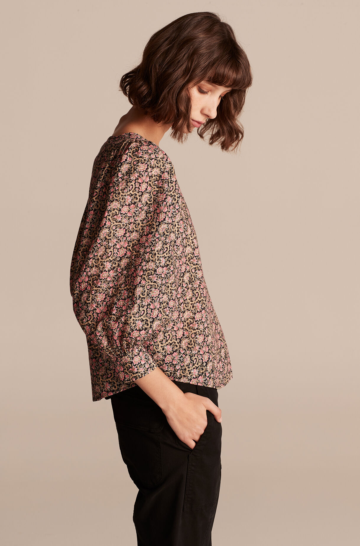 Claudine Top, Black Combo, large