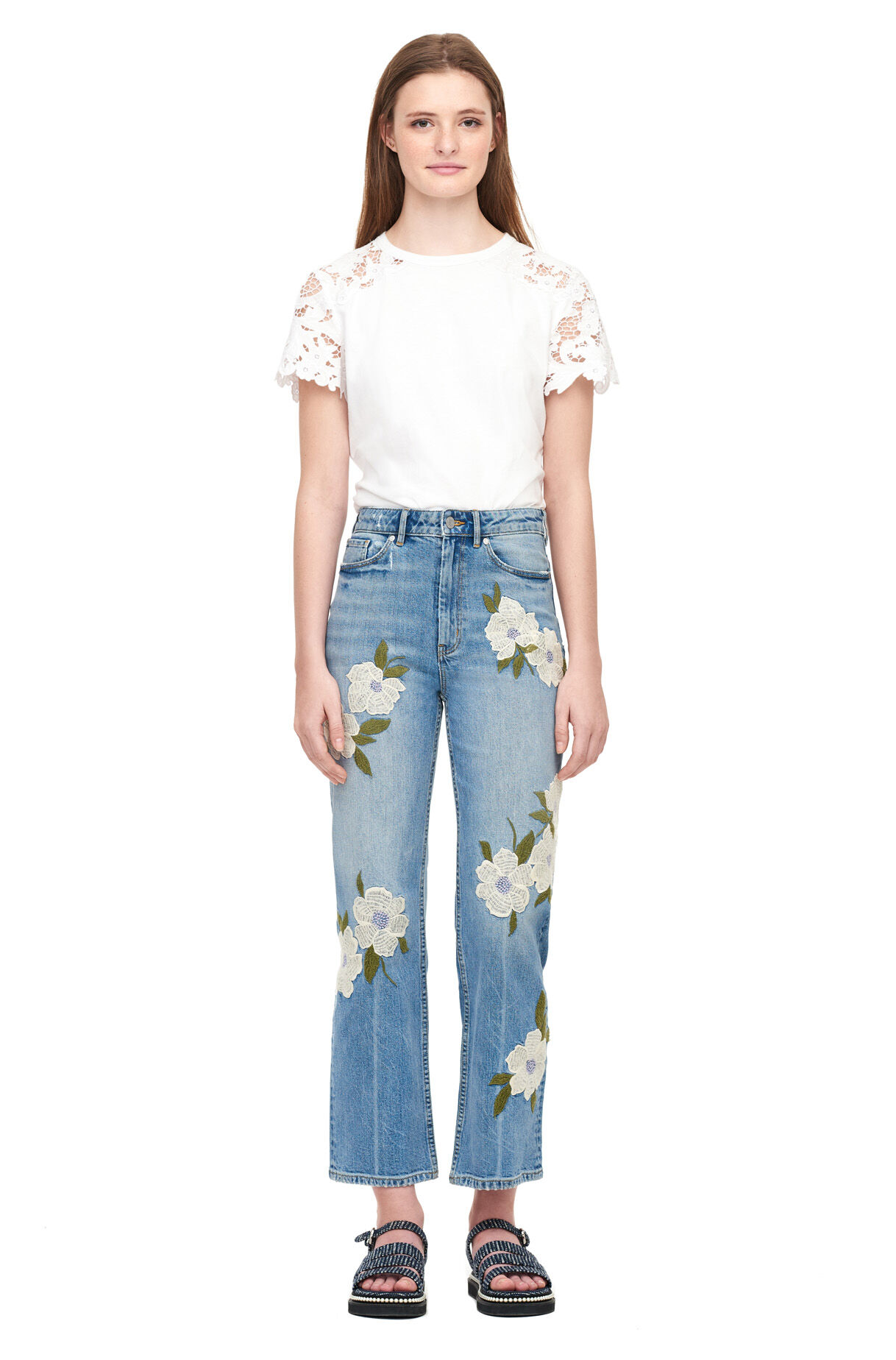 La Vie Floral Embroidered Anais Jean