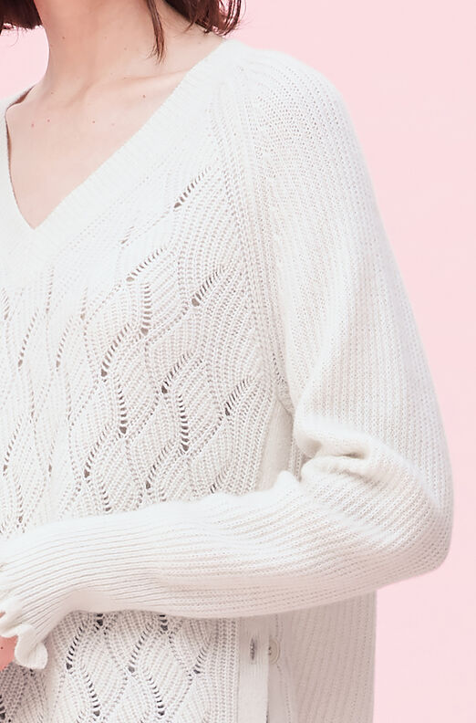 Wavy Pointelle Pullover