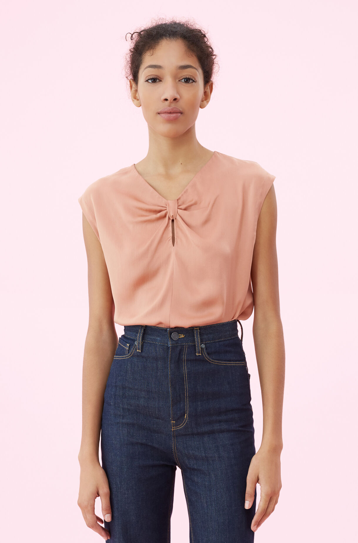 Silk Charmeuse Knot Top