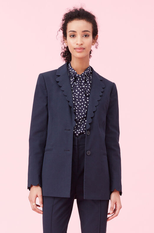 Scalloped Suiting Jacket, Navy, large