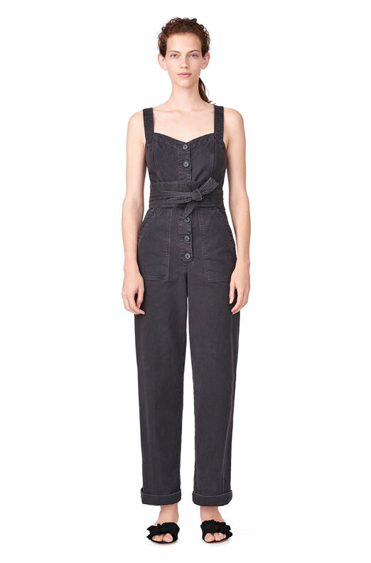 La Vie Garment-Dyed Twill Jumpsuit - Washed Black