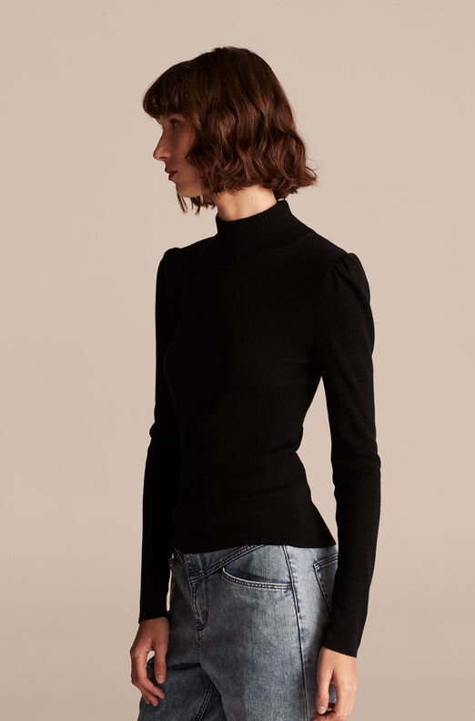 Cozy Cotton Turtleneck, Black, large