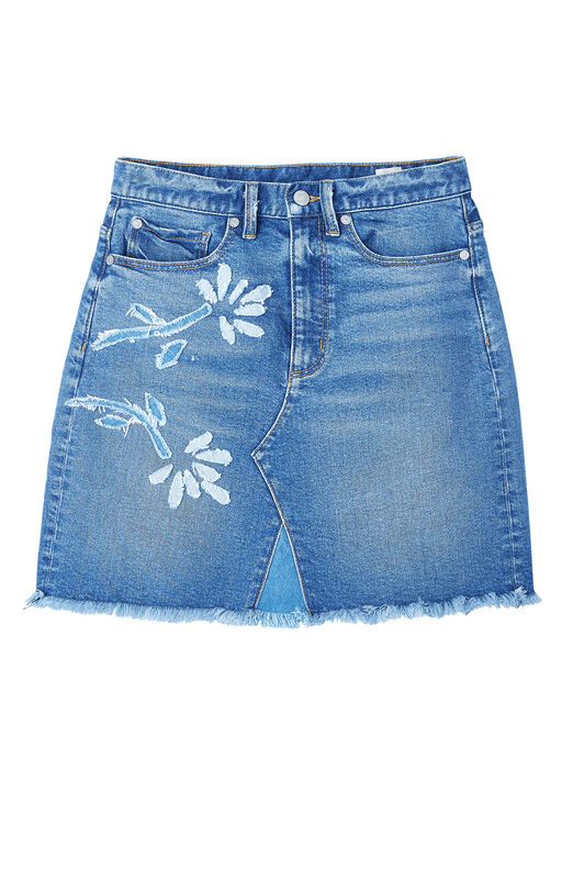 La Vie Floral Patched Denim Skirt