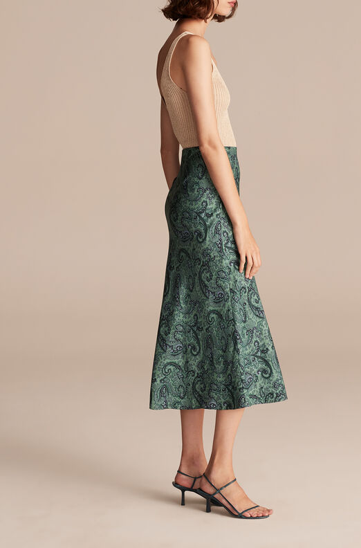 Tailored Margaux Paisley Skirt, Jade Combo, large