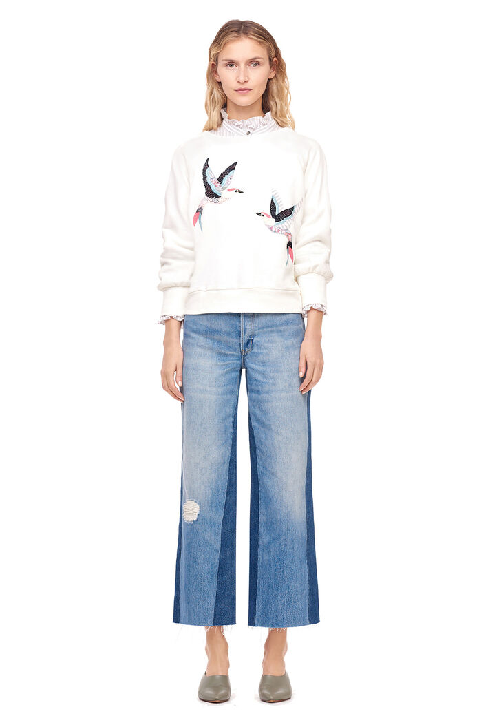 La Vie Bird Embellished Sweatshirt - Creamsicle