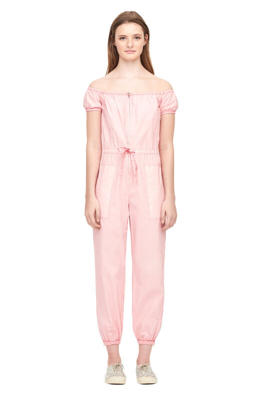 La Vie Off-The-Shoulder Parachute Poplin Jumpsuit - Powder Pink