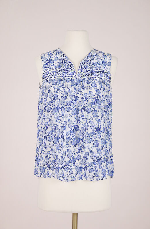 ReCollect Sleeveless Silk Floral Top