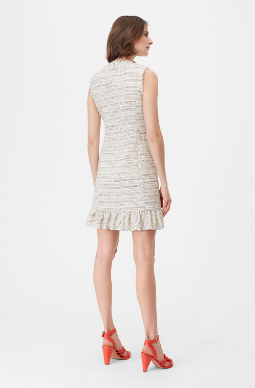 Tailored Textured Tweed Ruffle Dress