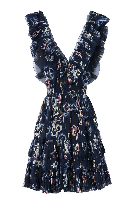 Faded Floral Pleated Clip Dress