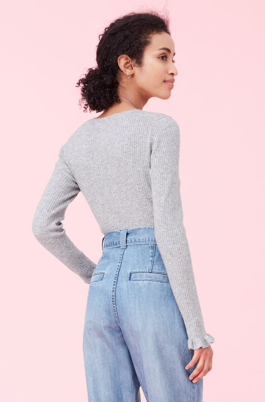 La Vie Heathered Ribbed Pullover