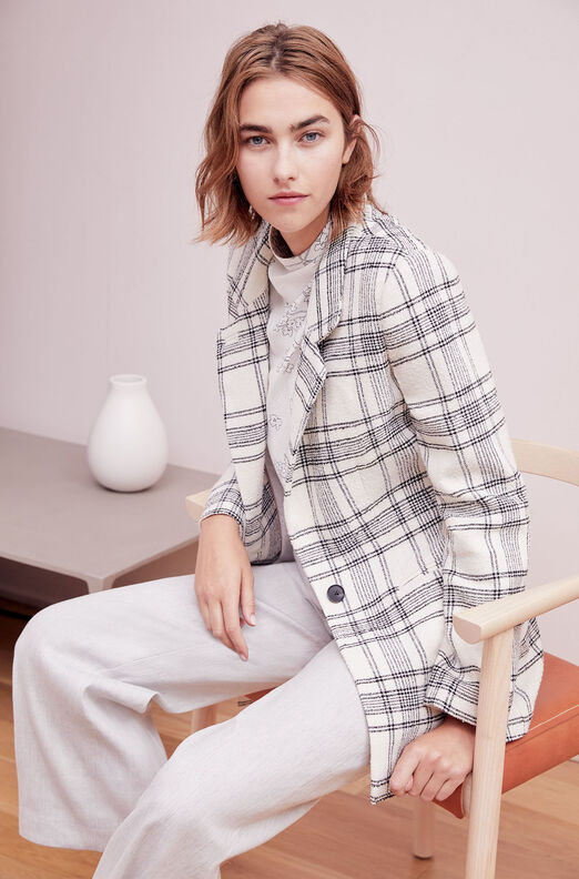 Tailored Windowpane Plaid Tweed Jacket