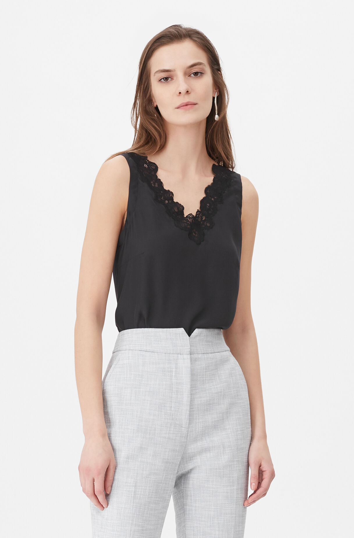 Tailored Silk Charmeuse & Lace Camisole