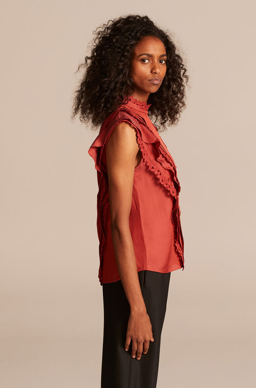 Sleeveless Embroidered Silk Top, Brick, large