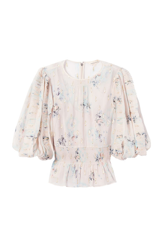Faded Floral Metallic Clip Top