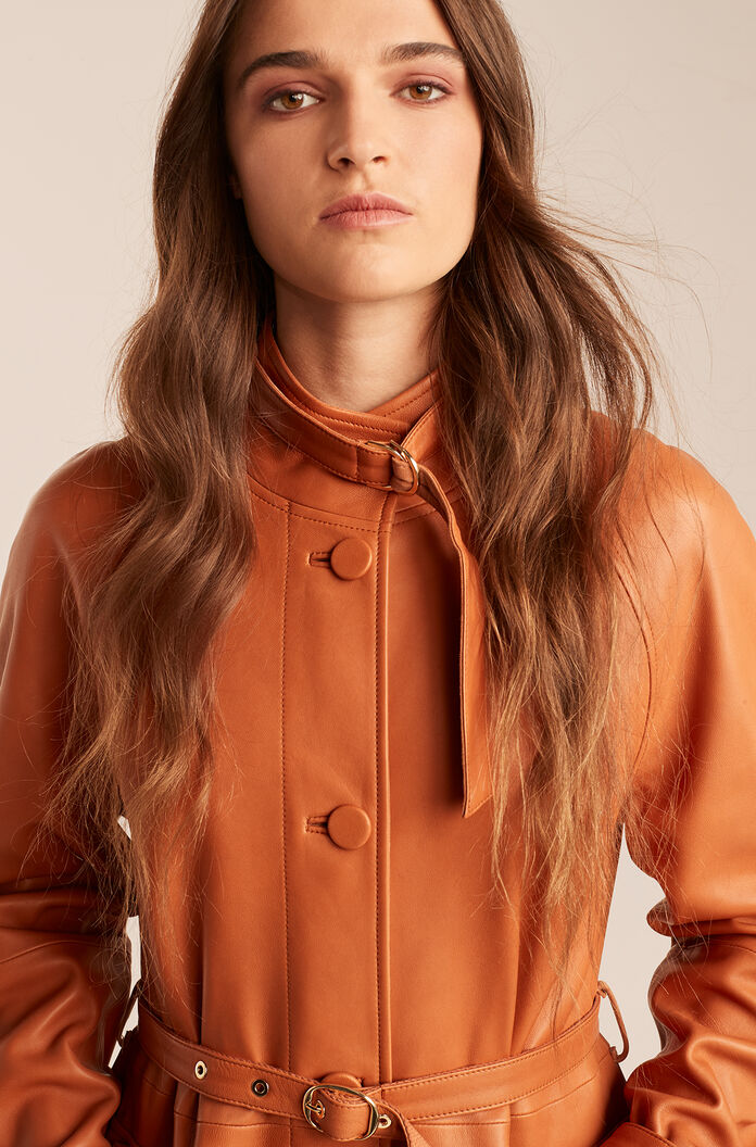 Leather Trench Coat, Sienna, large
