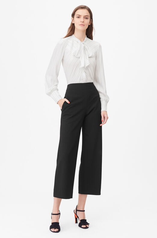 Tailored Clean Suiting Cropped Pant, Black, large