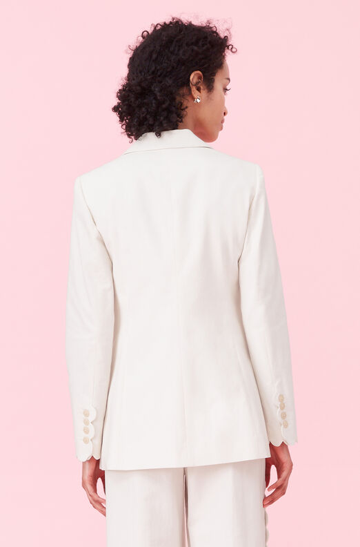 Scalloped Suiting Jacket, Vanilla, large
