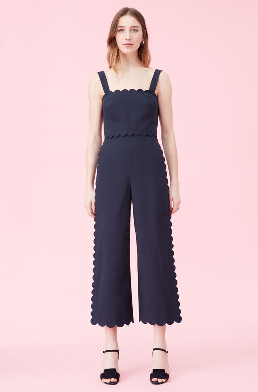 Scalloped Suiting Jumpsuit, Navy, large