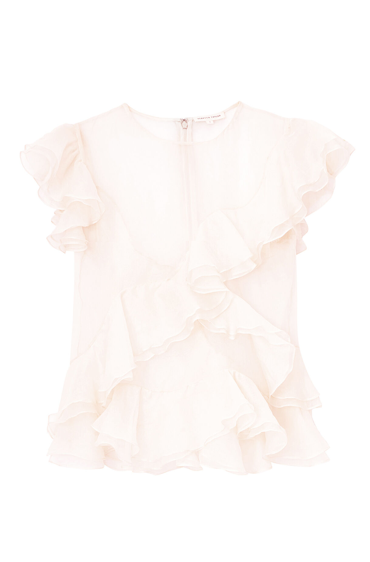 Ruffled Organza Skirt With Embroidered And Beaded Bodice: Organza Ruffle Top
