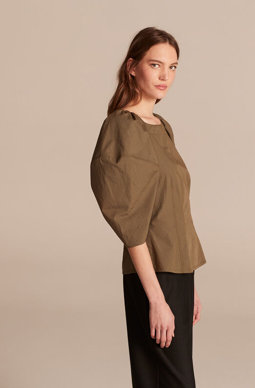 Lantern Sleeve Poplin Blouse, Juniper, large