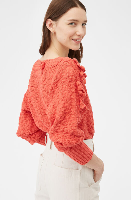 Floral Embellished Pullover, Red Coral, large
