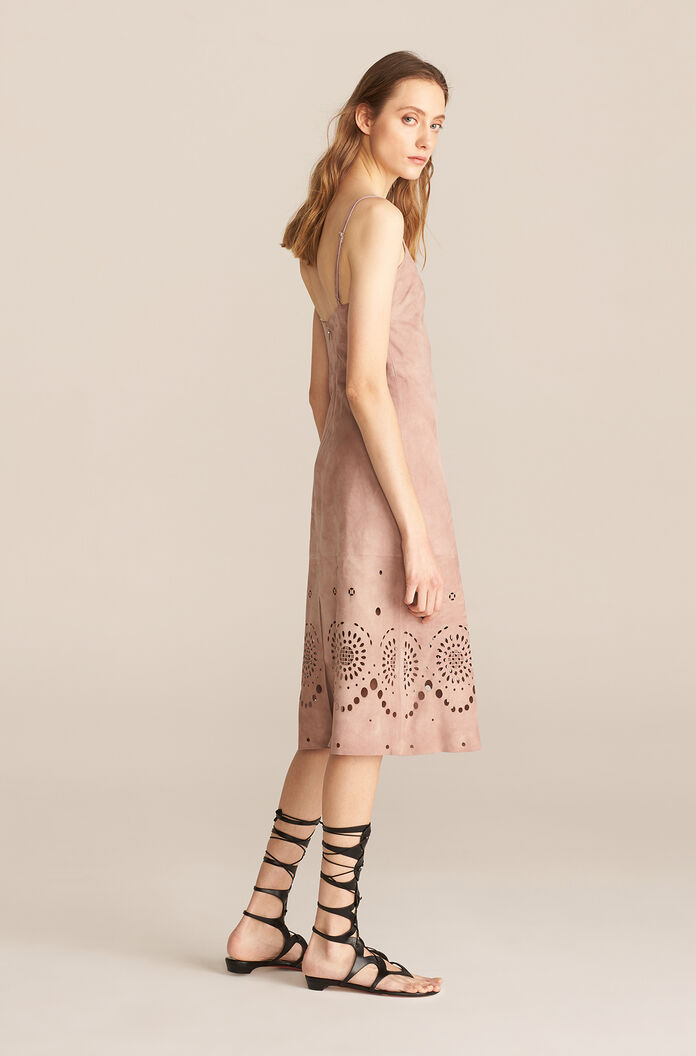 Laser Cut Suede Dress, Wisteria, large