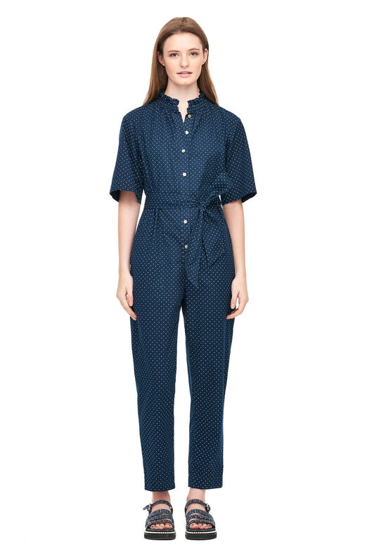 La Vie Dahlia Dot Twill Jumpsuit - Midnight Navy