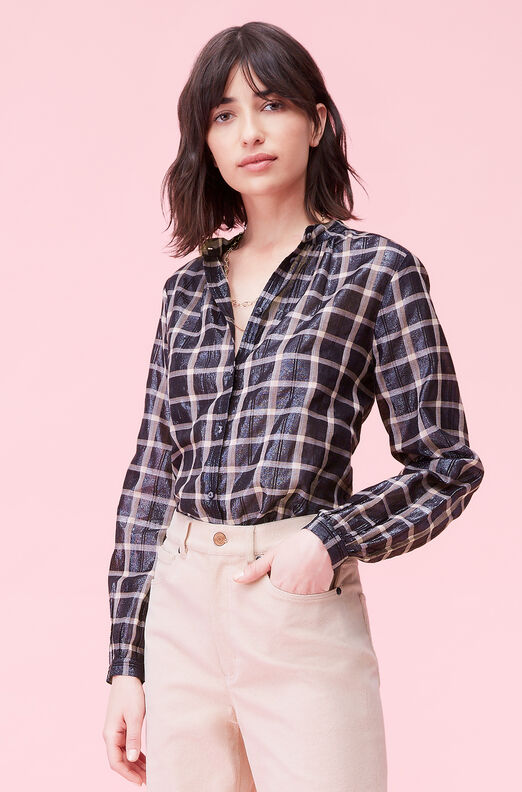 La Vie Lamé Plaid Top