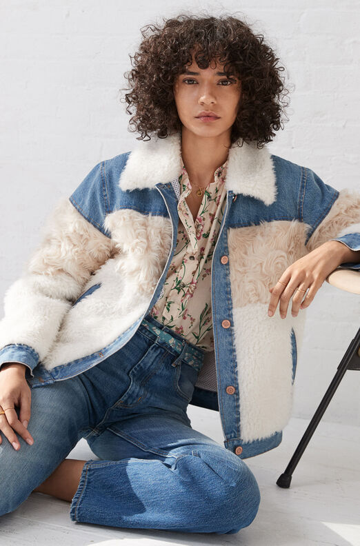 La Vie Mixed Faux Fur & Denim Jacket