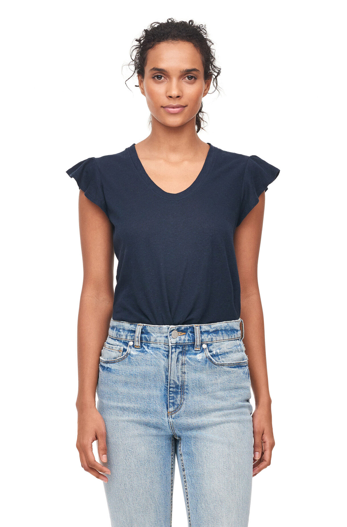 La Vie Washed Textured Jersey Tee, Navy, large