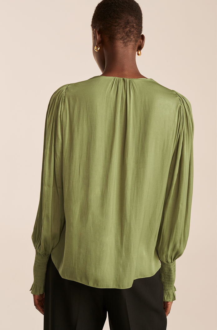 Tie Front Blouse, Avocado, large