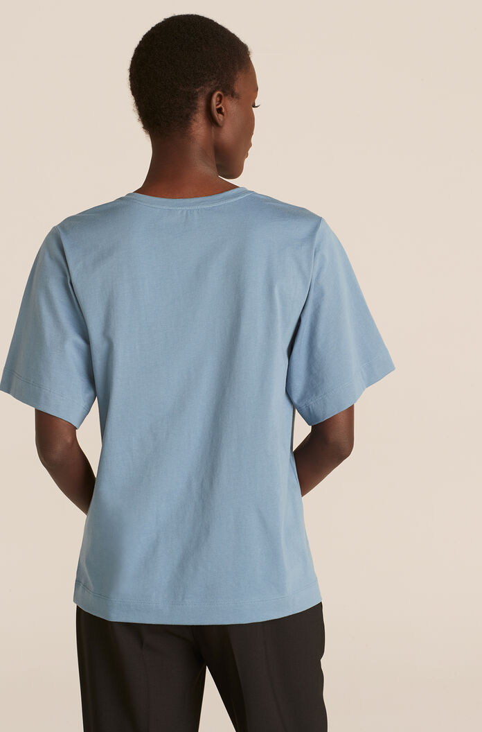 Tee With Smocking, Storm Blue, large