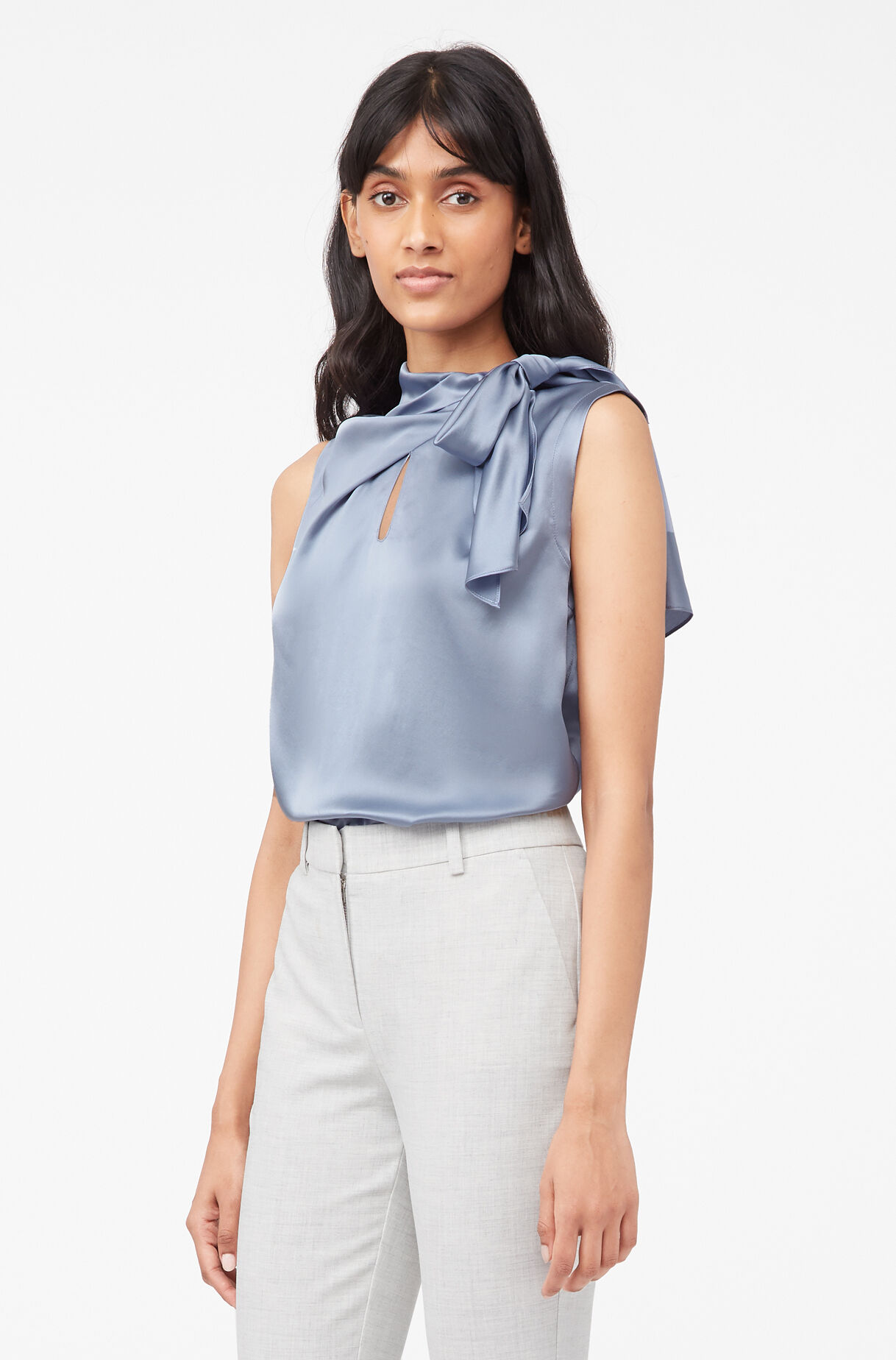 Tailored Silk Charmeuse Tie Neck Top