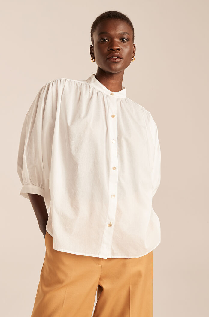 Long Sleeve Voile Button Down-Milk
