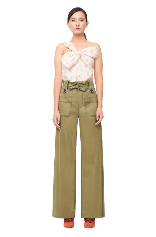 Belted Cotton Twill Trouser - Moss
