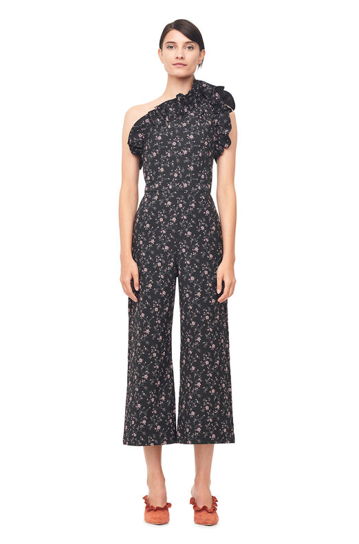 One-Shoulder Stretch Floral Jacquard Jumpsuit - Black Combo