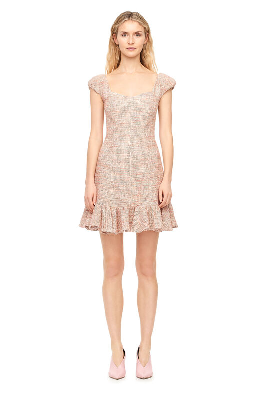 Cap Sleeve Spring Tweed Dress - Rosey Nude Combo