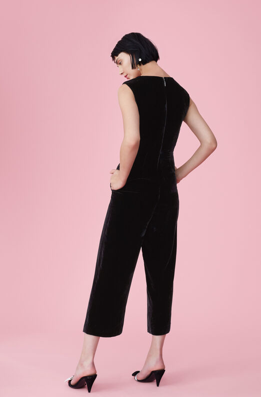 Ruched Velvet Jumpsuit