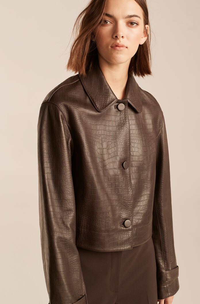 Croc Embossed Cropped Leather Jacket, Chocolate, large