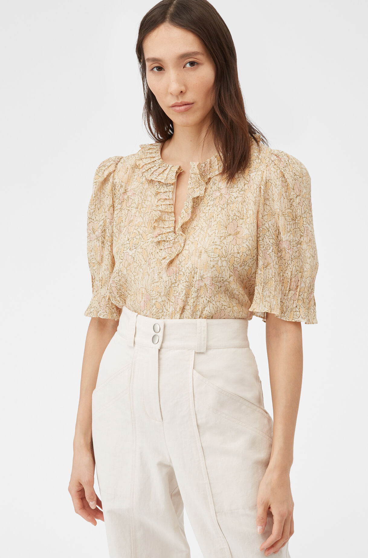 Rebecca Taylor Womens Short Sleeve Silk Blouse with Pleat Front