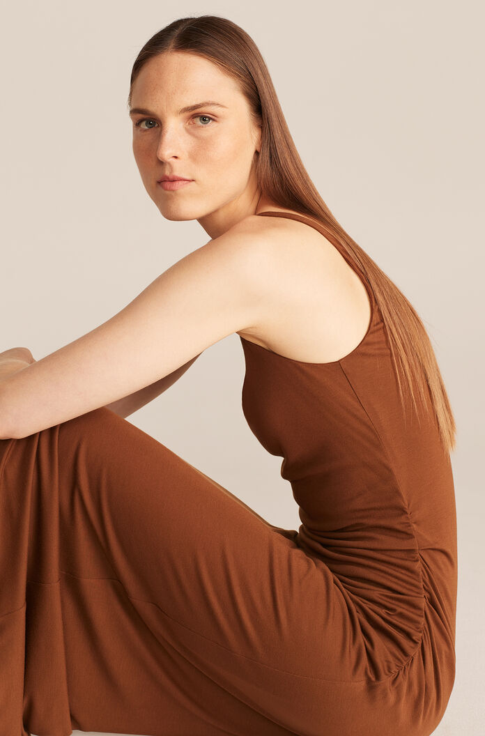 Ruched Seam Dress-Cocao