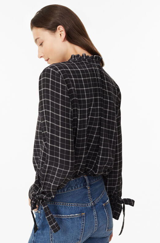 Plaid Silk Top