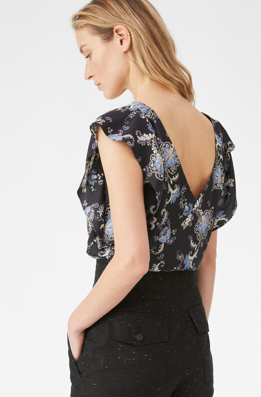Paisley Fleur V-Neck Top, Black Combo, large